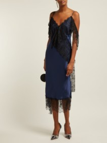 ROMANCE WAS BORN Devotion Lace-Trimmed Satin Navy Dress