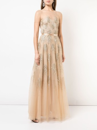 SACHIN & BABI Asha Tulle Gold Gown