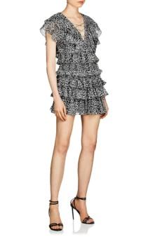 SAINT LAURENT Cheetah-Print Silk Mini Black / White Dress