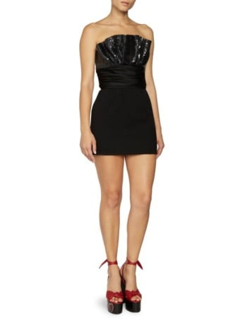 SAINT LAURENT Double Sable Strapless Sequin Black Dress