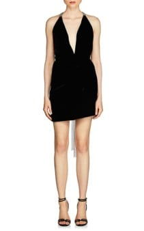 SAINT LAURENT Embellished Velvet Mini Black Dress