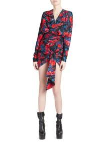 SAINT LAURENT Jacquard Mini Rouge / Floral Printed Dress