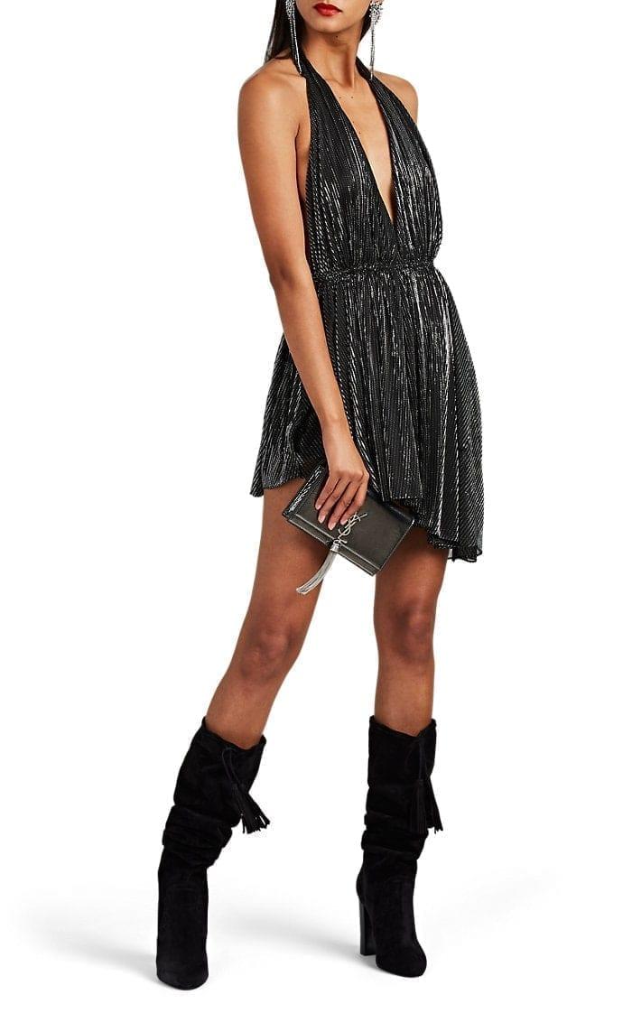 SAINT LAURENT Metallic Cocktail Black Dress