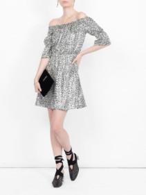 SAINT LAURENT Printed Off-the-shoulder Black / White Dress