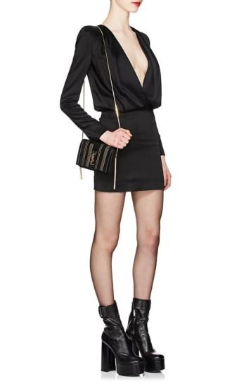 SAINT LAURENT Satin Draped Mini Black Dress