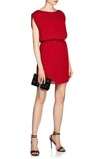 SAINT LAURENT Studded Silk Georgette Red Dress