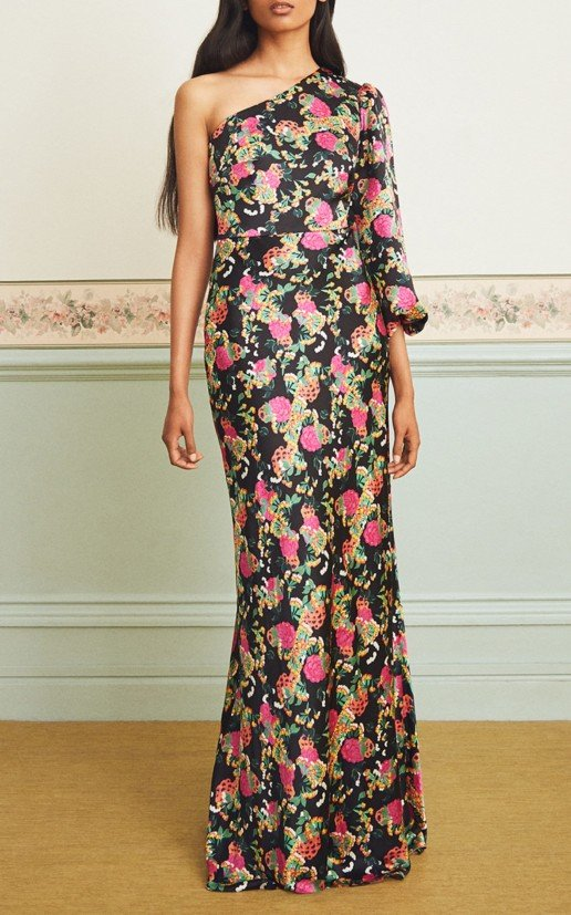 SALONI Lily Silk One Shoulder Black / Floral Printed Gown