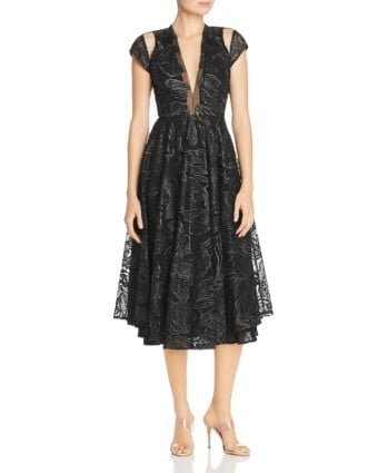 SAU LEE Alyssa Embroidered Mesh Fit-and-Flare Midi Black Dress