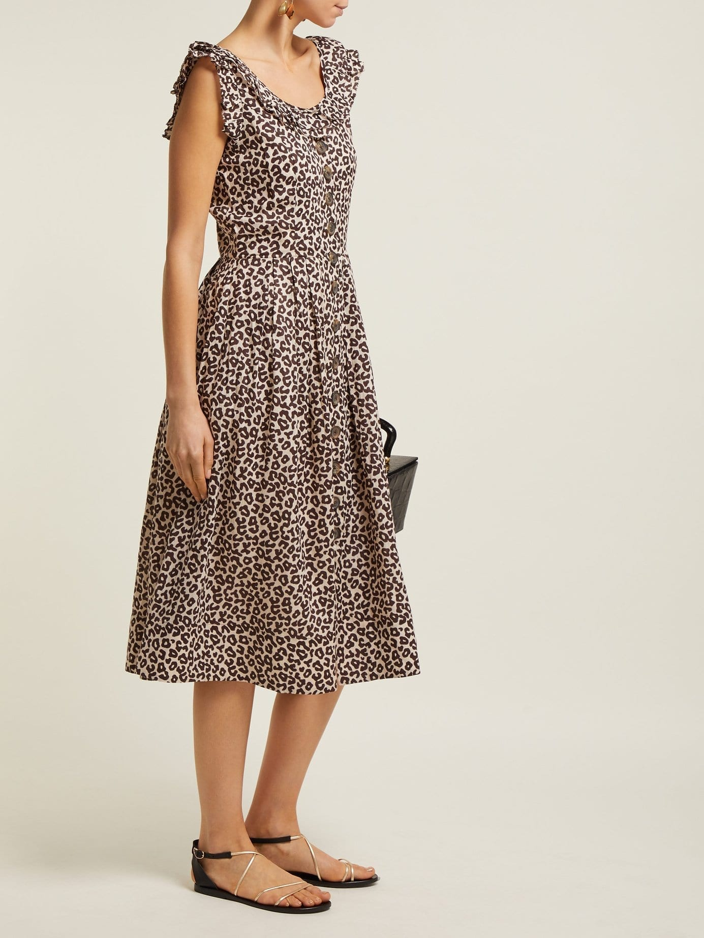 SEA Lottie Leopard-print Midi Brown Dress