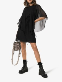 SEE BY CHLOÉ Ruffle Sheer Sleeve Mini Black Dress