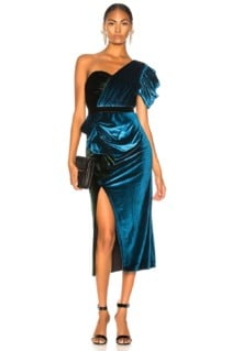 SELF-PORTRAIT One Shoulder Velvet Midi Green / Teal Dress