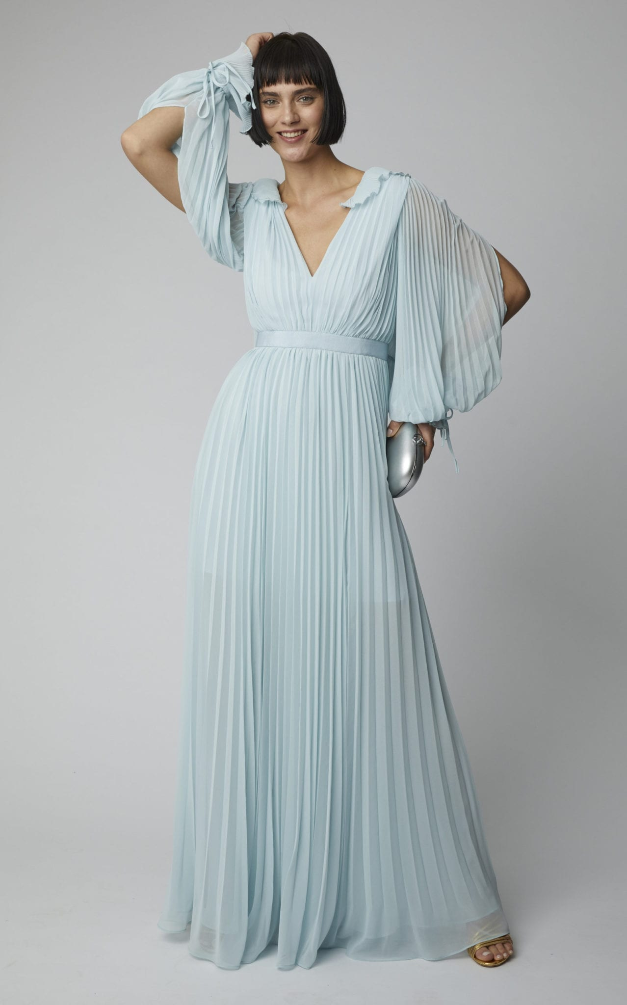 Pleated chiffon maxi dress with sleeves