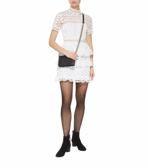 SELF-PORTRAIT Star Lace Mini White Dress