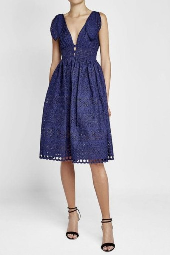 SELF PORTRAIT Tie Shoulder Lace Midi Dress with Cotton