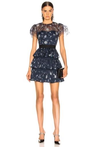 SELF-PORTRAIT Tiered Star Mesh Printed Mini Navy Dress