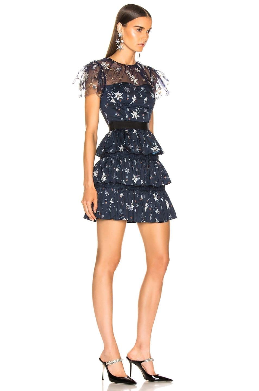 e95bdca173e82 SELF-PORTRAIT Tiered Star Mesh Printed Mini Navy Dress - We Select ...