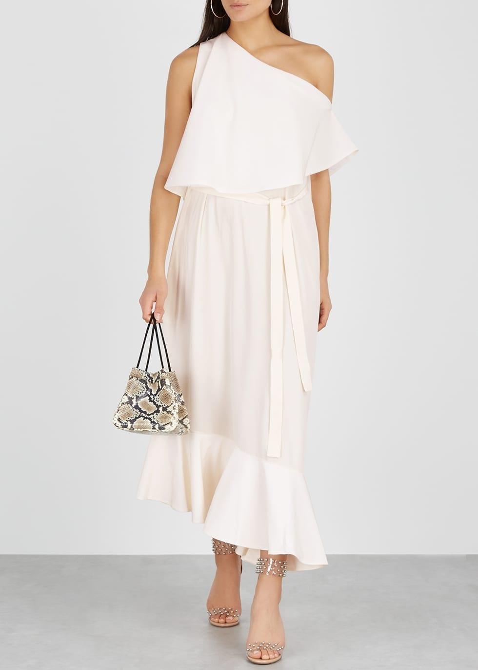 72635d67ddd4 STELLA MCCARTNEY One-shoulder Silk Crepe De Chine Cream Dress - We ...