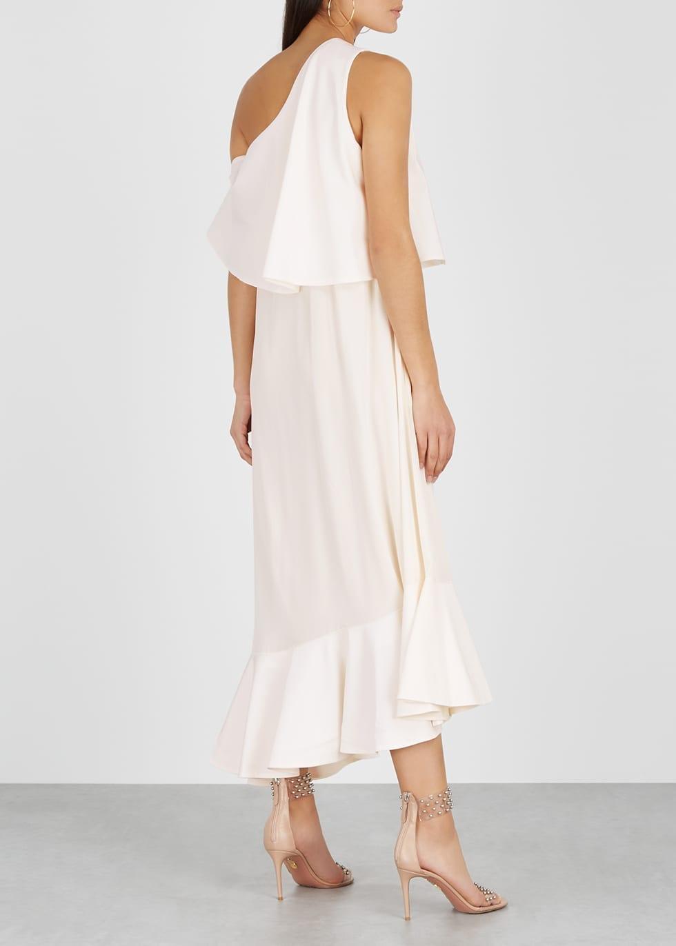 c956481fb STELLA MCCARTNEY One-shoulder Silk Crepe De Chine Cream Dress - We ...