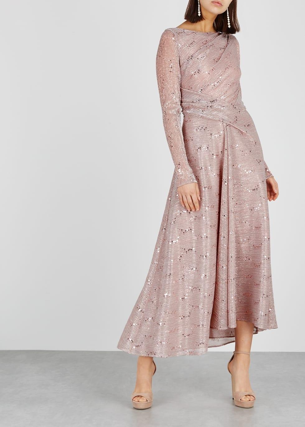TALBOT RUNHOF Embellished Metallic-knit Pink Gown