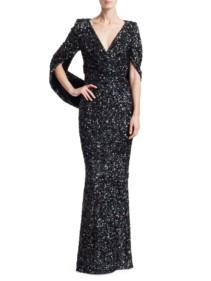 TALBOT RUNHOF Sequin Cape Black Gown