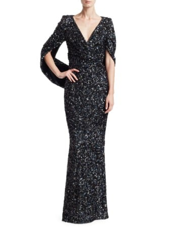 TALBOT RUNHOF Sequin Cape Black Gown