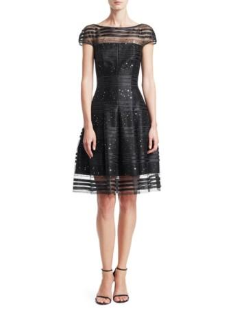 TALBOT RUNHOF Sequin Net Cocktail A-Line Black Dress