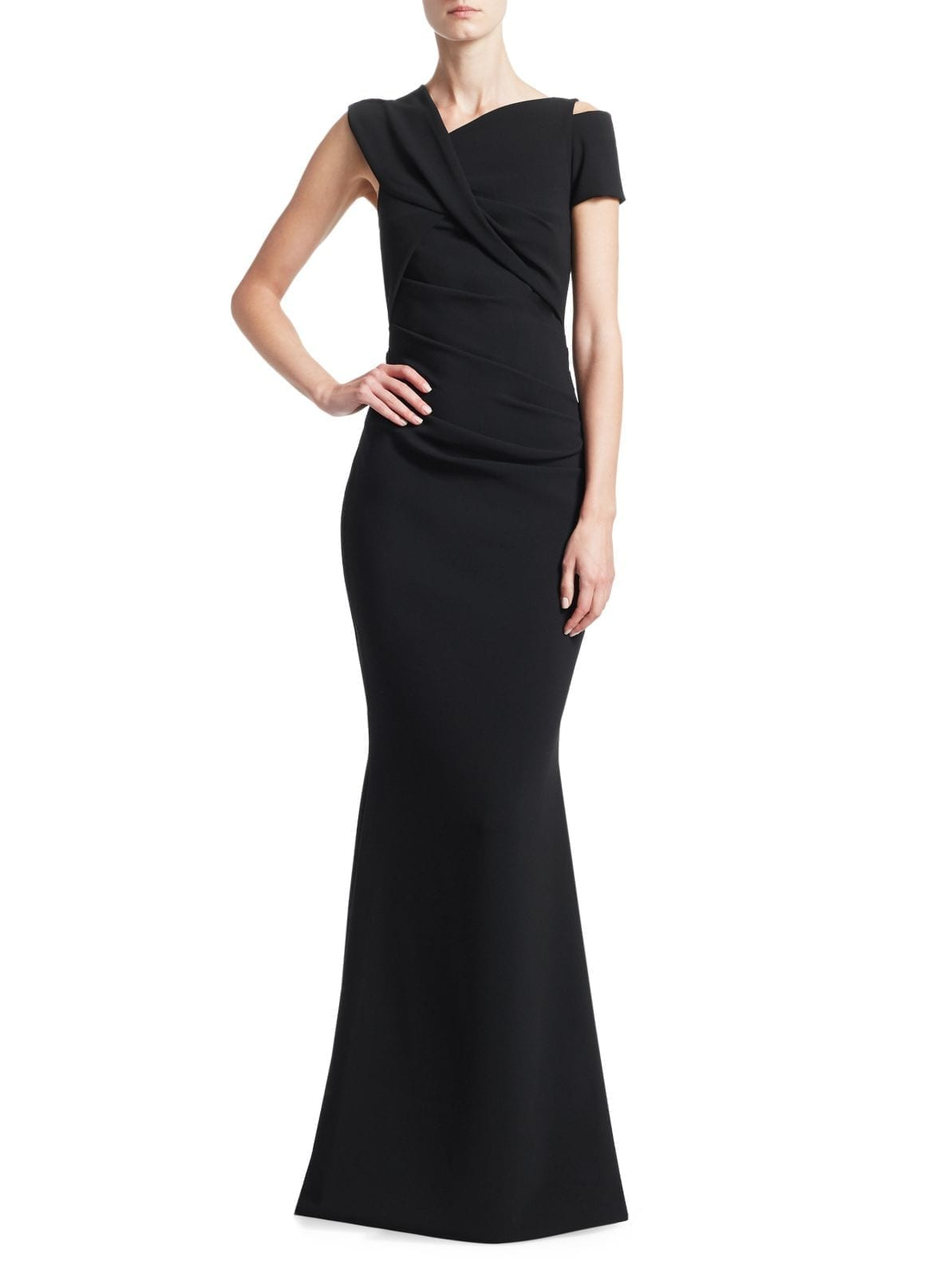 TALBOT RUNHOF Stretch Crepe Mermaid Black Gown