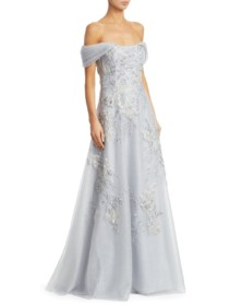 TERI JON BY RICKIE FREEMAN Off-The-Shoulder Floral-Embroidered Lace & Tulle A-Line Platinum Gown