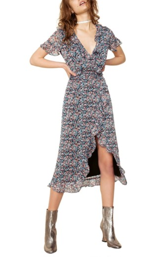 THE EAST ORDER Cece Wrap Floral Printed Dress