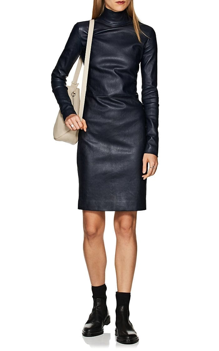 THE ROW Beattia Leather Navy Dress