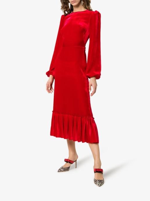 THE VAMPIRE'S WIFE Peplum Hem Velvet Silk Blend Red Dress