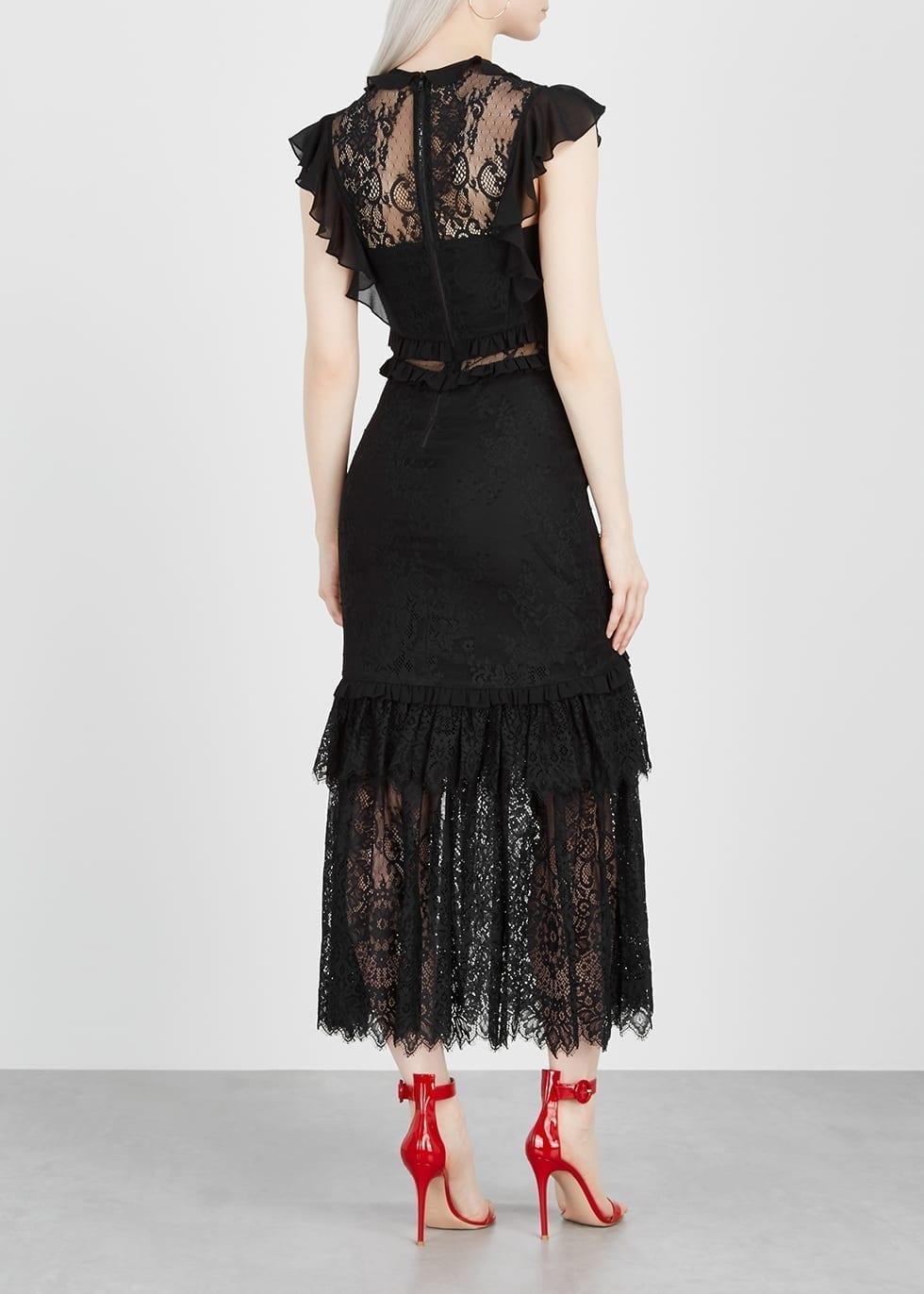 THREE FLOOR Print Ruffle-trimmed Lace Midi Black Dress