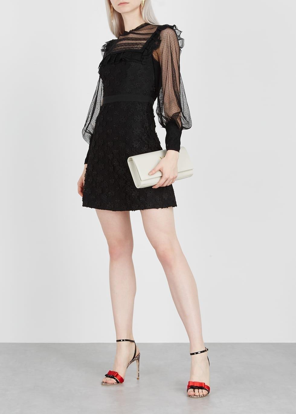 THREE FLOOR Twiggy Lace Mini Black Dress