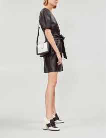 TOPSHOP Puff-sleeved Wrapover Leather Black Dress