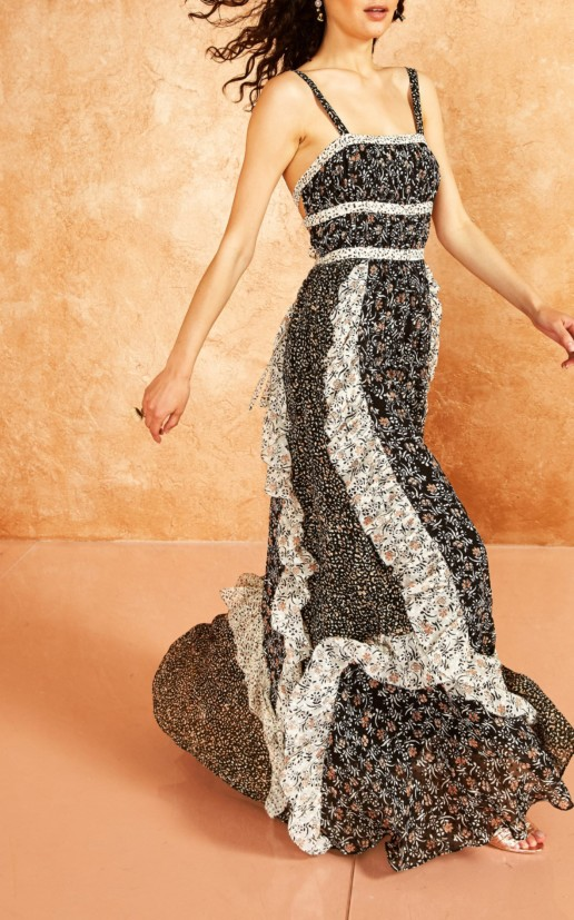 ULLA JOHNSON Brie Ruffle Silk Maxi Black Dress