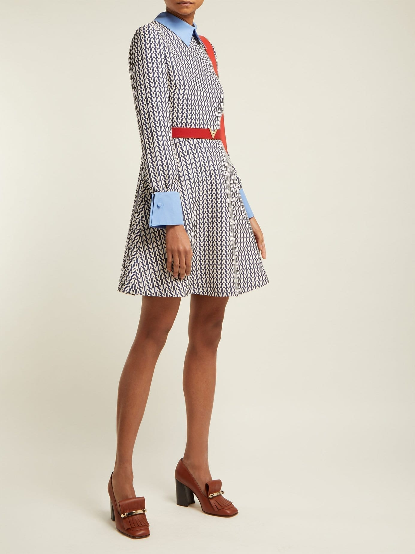 Valentino Optical Print Wool And Silk Blend Mini Blue Dress