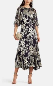 WARM Florence Floral Silk-blend Black / Ivory Dress