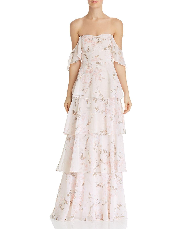 WAYF Abby Off-the-Shoulder Blush Dress