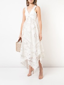 ZIMMERMANN Asymmetric Hem V-neck White Dress