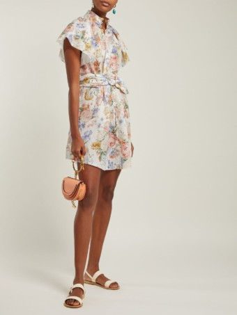 ZIMMERMANN Bowie Belted Mini White / Floral Printed Dress