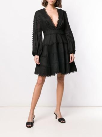 ZIMMERMANN Heathers Flounce Mini Black Dress