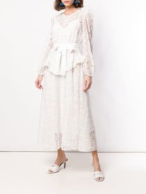 ZIMMERMANN Long Floral Lace Ivory Dress