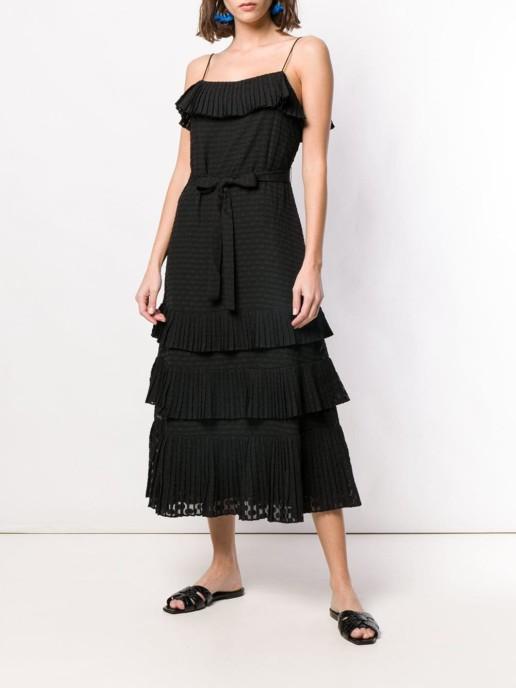 ZIMMERMANN Plissé Chiffon Midi Black Dress