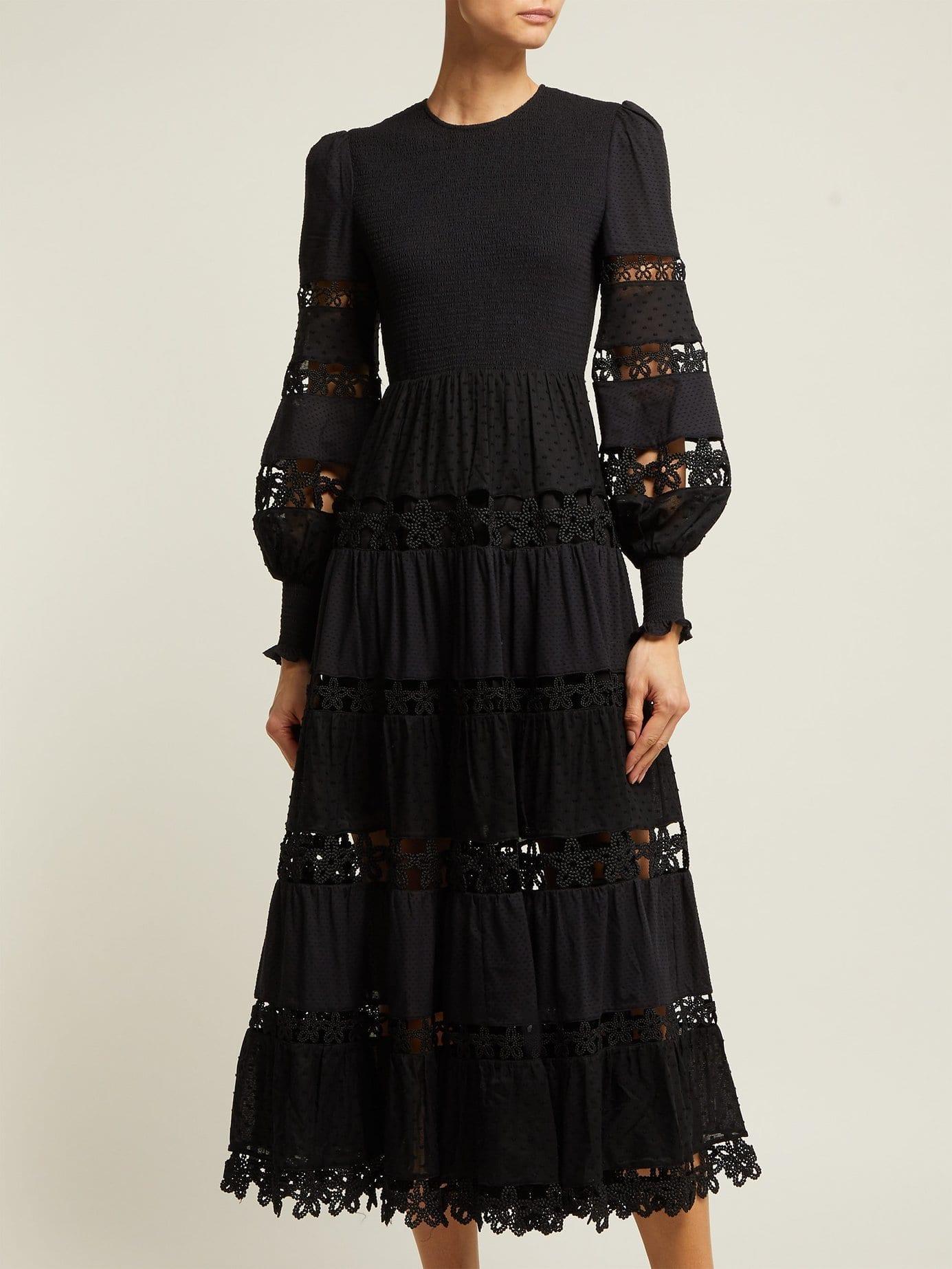 Zimmermann Primrose Lace Insert Cotton Black Dress We