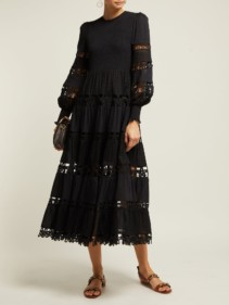 ZIMMERMANN Primrose Lace-insert Cotton Black Dress