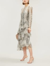 ZIMMERMANN Ruffled Tiered Snake-print Silk-georgette Midi Gray Dress