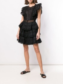 ZIMMERMANN Ruffled Trimming Black Dress