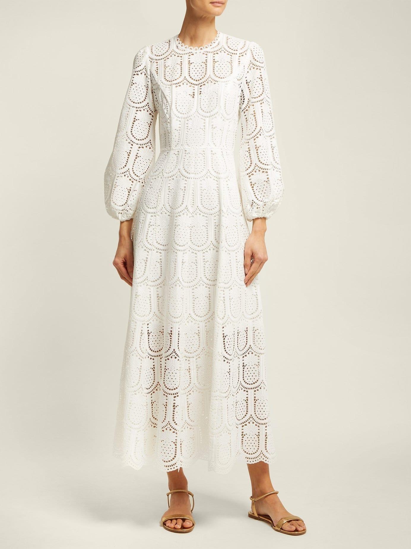 Zimmermann Wayfarer Crochet Lace Maxi White Dress We