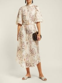 ZIMMERMANN Wayfarer Linen Cream / Floral Printed Dress