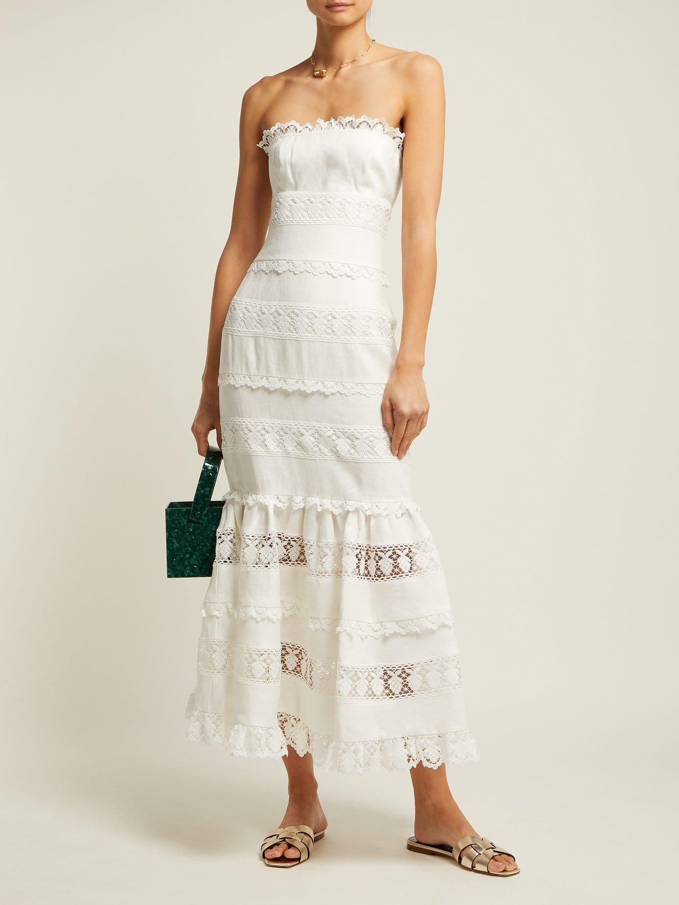 c1a927b2ba0 ZIMMERMANN Wayfarer Strapless Cotton And Lace Midi White Dress